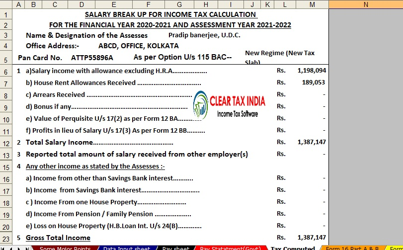 Income Tax Calculator for the Andhra Pradesh State Employees For F.Y.2020-21
