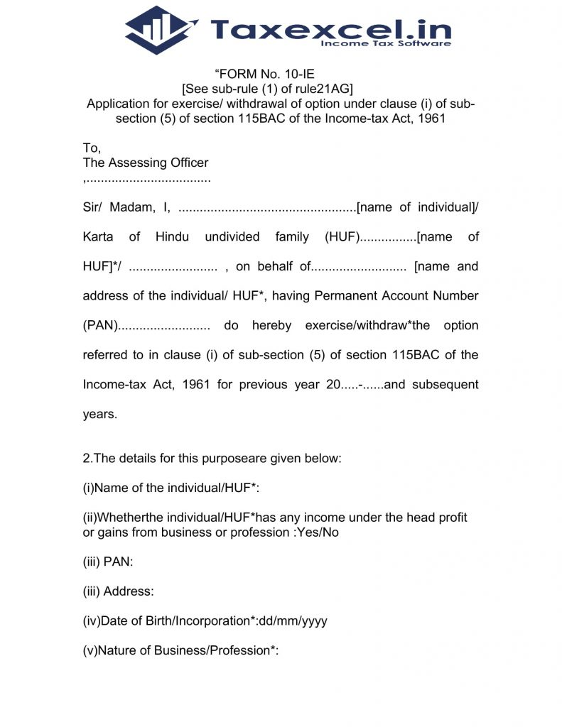 Income Tax new option form 10-IE as per U/s 115 BAC for F.Y.2020-21
